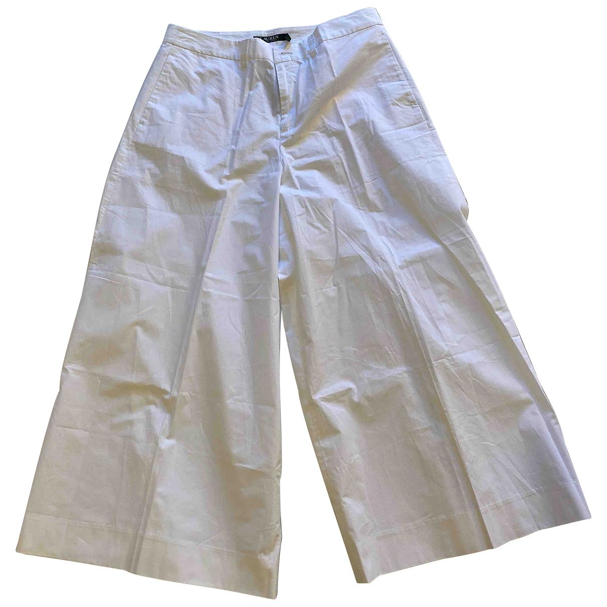 Lauren Ralph Lauren \N White Cotton Trousers for Women 46 IT