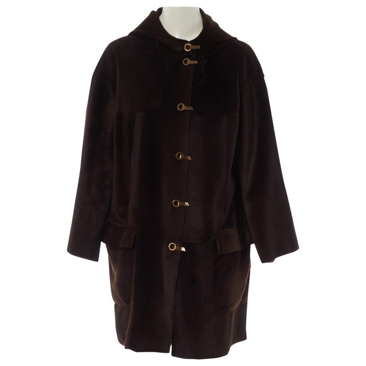 Lanvin - Manteau   pour femme en mouton - marron