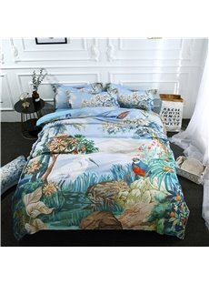 A Paradise of Flowers And Birds Digital Printing Polyester 3D 4-Piece Bedding Sets/Duvet Covers