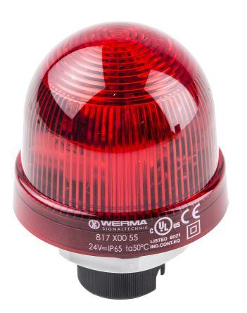 Werma 817 Red Xenon Beacon, 24 V dc, Blinking, Panel Mount