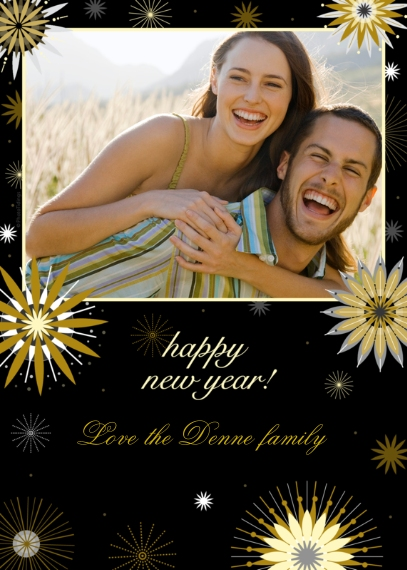 New Year's Photo Cards 5x7 Cards, Premium Cardstock 120lb, Card & Stationery -New Year's Fireworks