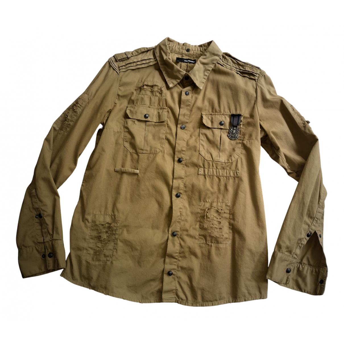 The Kooples - Chemises   pour homme en coton - kaki