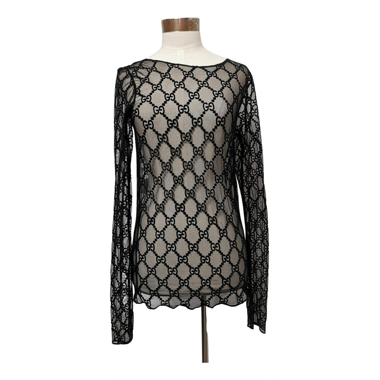 Gucci - Top   pour femme en dentelle - noir