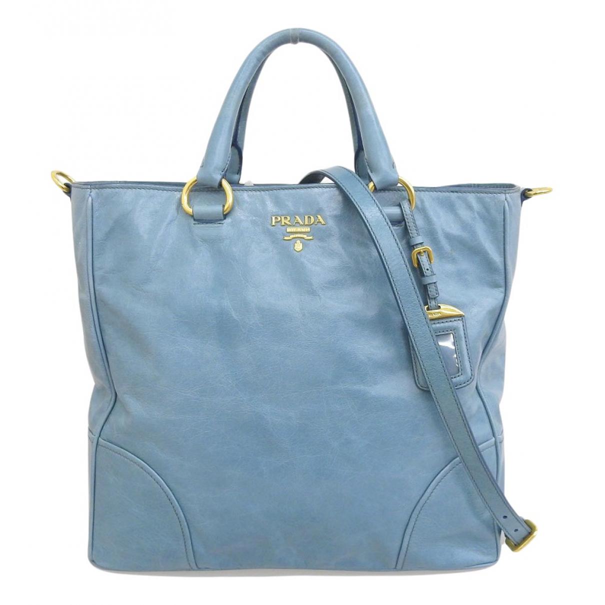Prada - Sac a main   pour femme en cuir - bleu