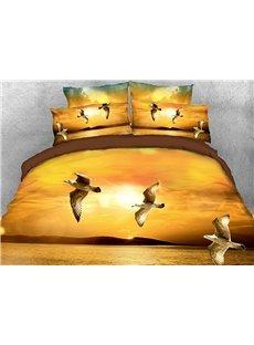 Vivilinen 3D Seagulls Flying over Ocean in the Twilight 4-Piece Bedding Sets/Duvet Covers