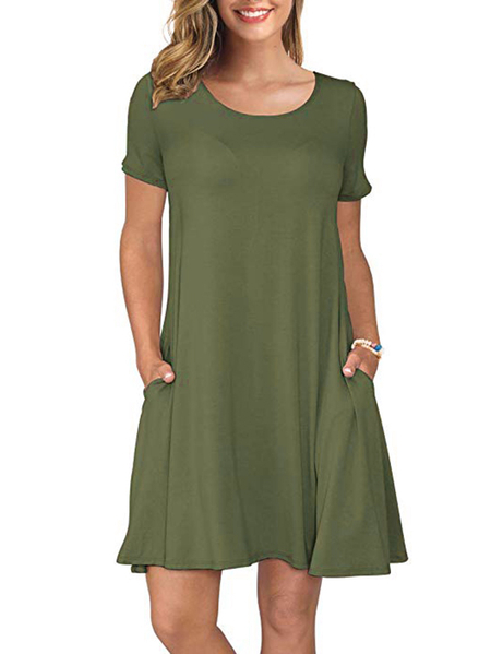 Yoins Army Green Round Neck Short Sleeves Side Pockets Dress