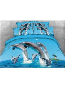 Jumping Dolphins and Flying Seagull 4-Piece Blue 3D Bedding Sets/Duvet Covers