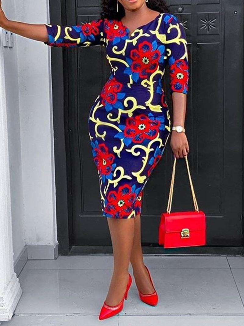 Ericdress Mid-Calf V-Neck Print Pullover Bodycon Dress