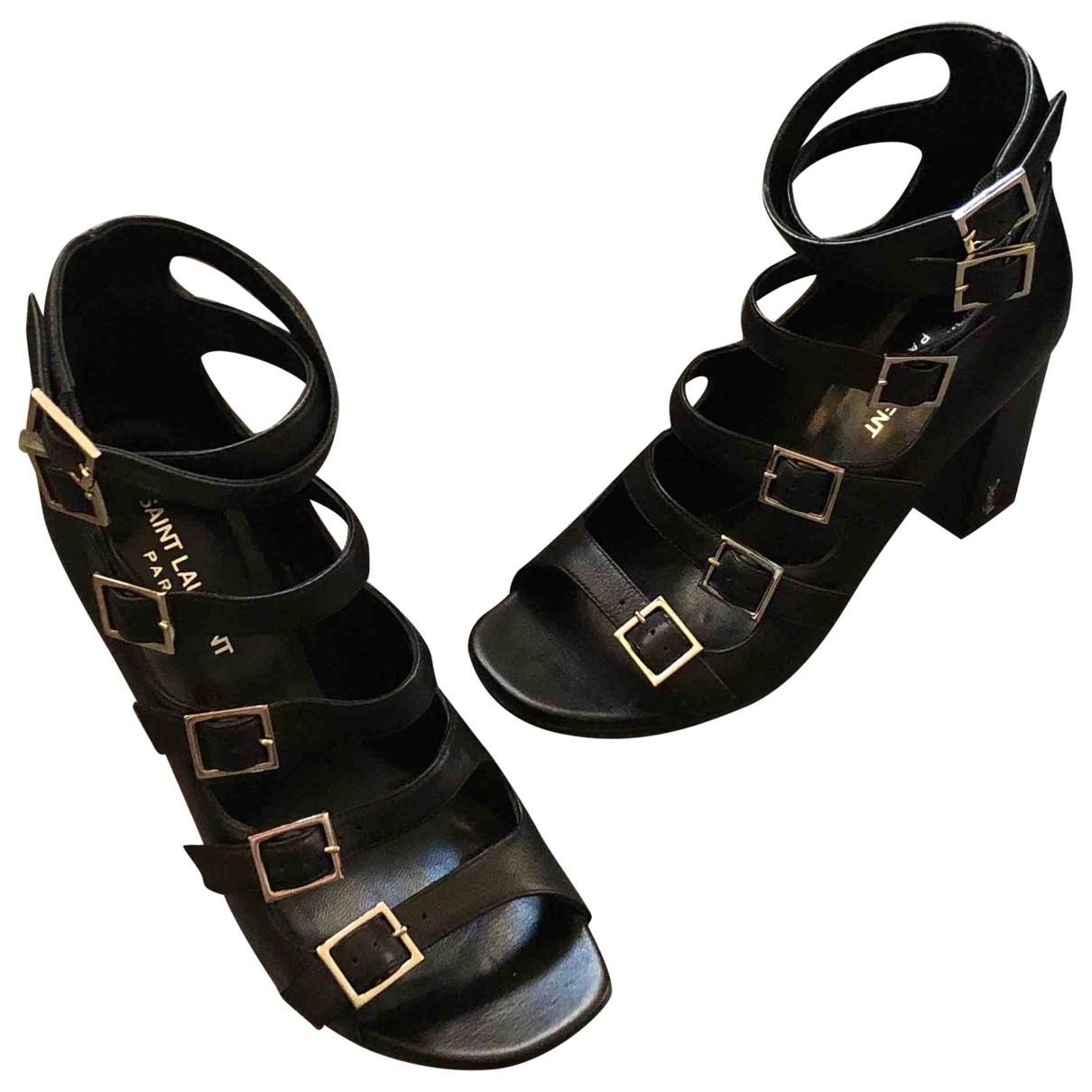 Saint Laurent \N Black Leather Sandals for Women 37 EU