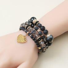 4pcs Heart Charm Bracelet