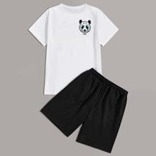 Camiseta de hombres con estampado de panda y letra con shorts con cordon
