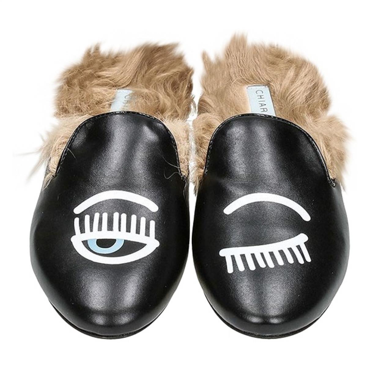 Chiara Ferragni \N Black Leather Flats for Women 39.5 EU