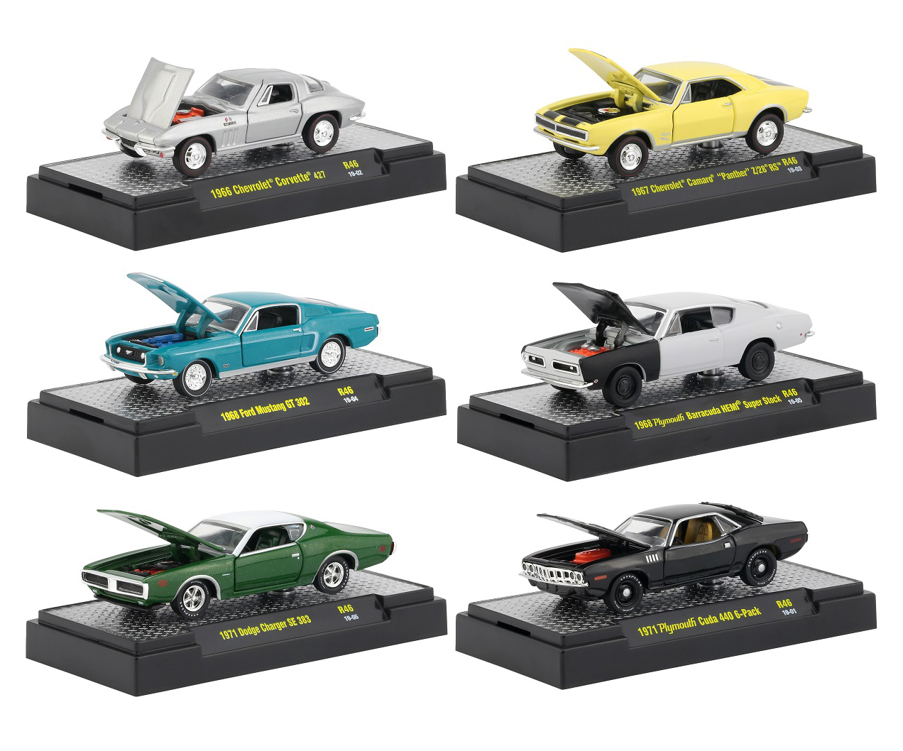 Detroit Muscle Release 46 6 Cars Set IN DISPLAY CASES 1/64 Diecast Model Cars by M2 Machines