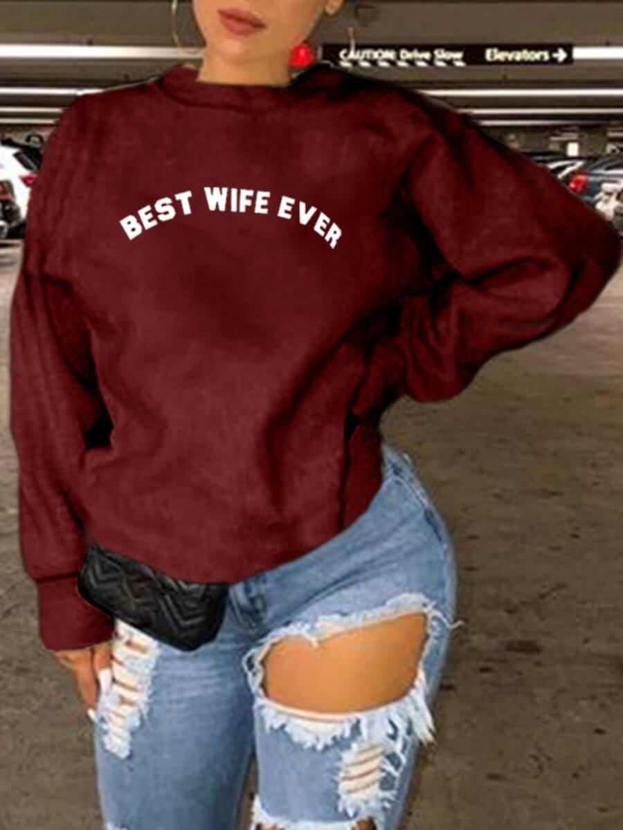 LW Lovely Casual O Neck Letter Print Wine Red Plus Size Hoodie
