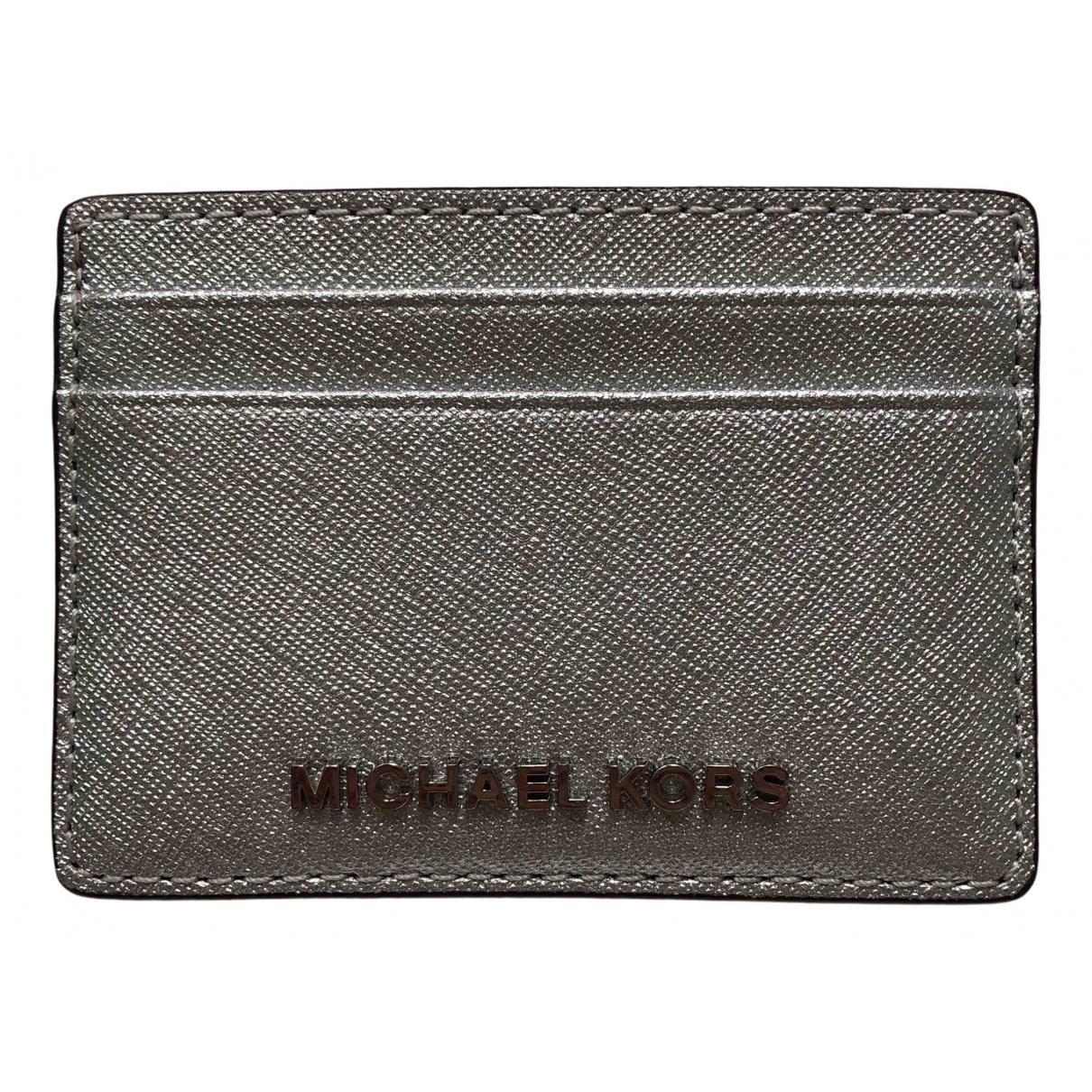 Michael Kors - Portefeuille   pour femme en cuir - argente