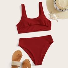 Bikini Badeanzug mit Ausschnitt und hoher Taille