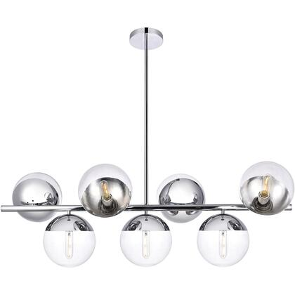 LD6137C Eclipse 7 Light 18 inch Chrome Pendant Ceiling Light With Clear White