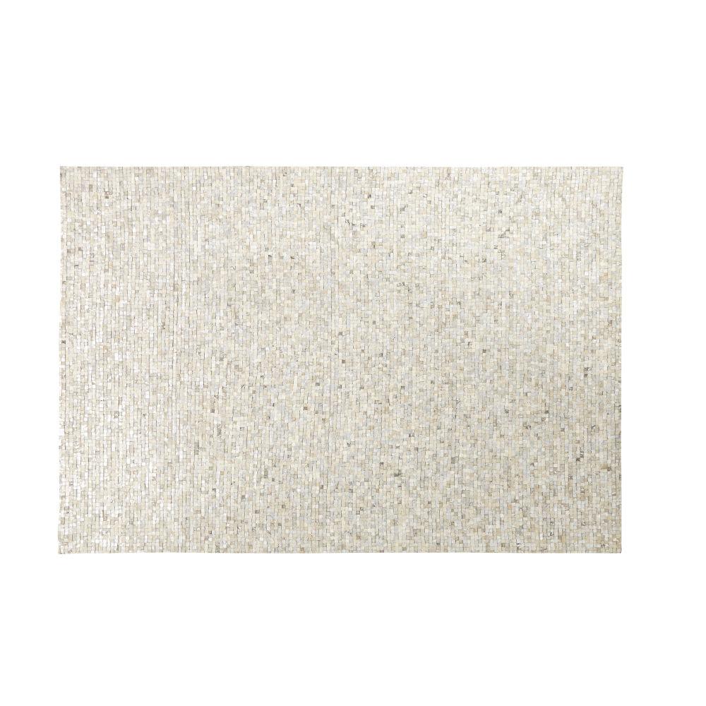 Teppich aus silbergrauem Kuhleder mit grafischen Motiven 140x200
