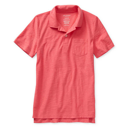 Arizona Little & Big Boys Short Sleeve Polo Shirt, 14-16 Husky , Red