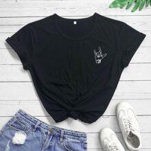 T-Shirt mit Figur Muster und rundem Kragen