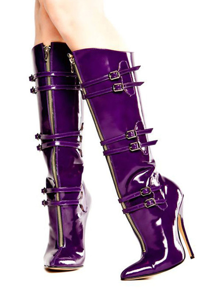 Milanoo Women Sexy Boots Purple Pointed Toe Buckle Detail High Heel Knee High Boots