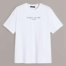 Camiseta de hombres con estampado de slogan
