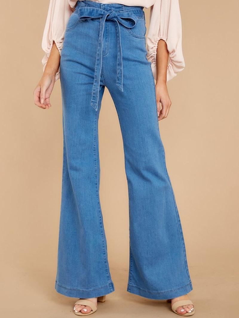 Ericdress Lace-Up Bellbottoms Plain Zipper Slim Jeans