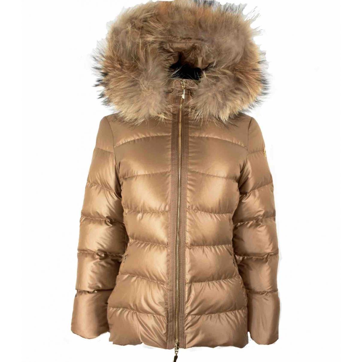 Moncler Fur Hood Jacke in  Beige Synthetik