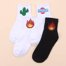 4 Paar Feuermuster Socken