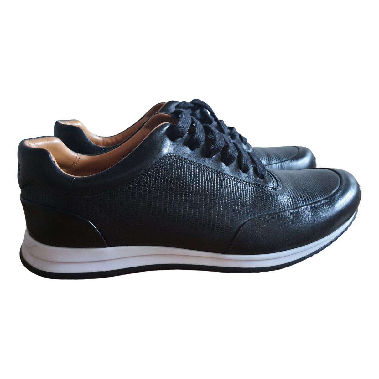 Hugo Boss - Baskets   pour homme en cuir - noir