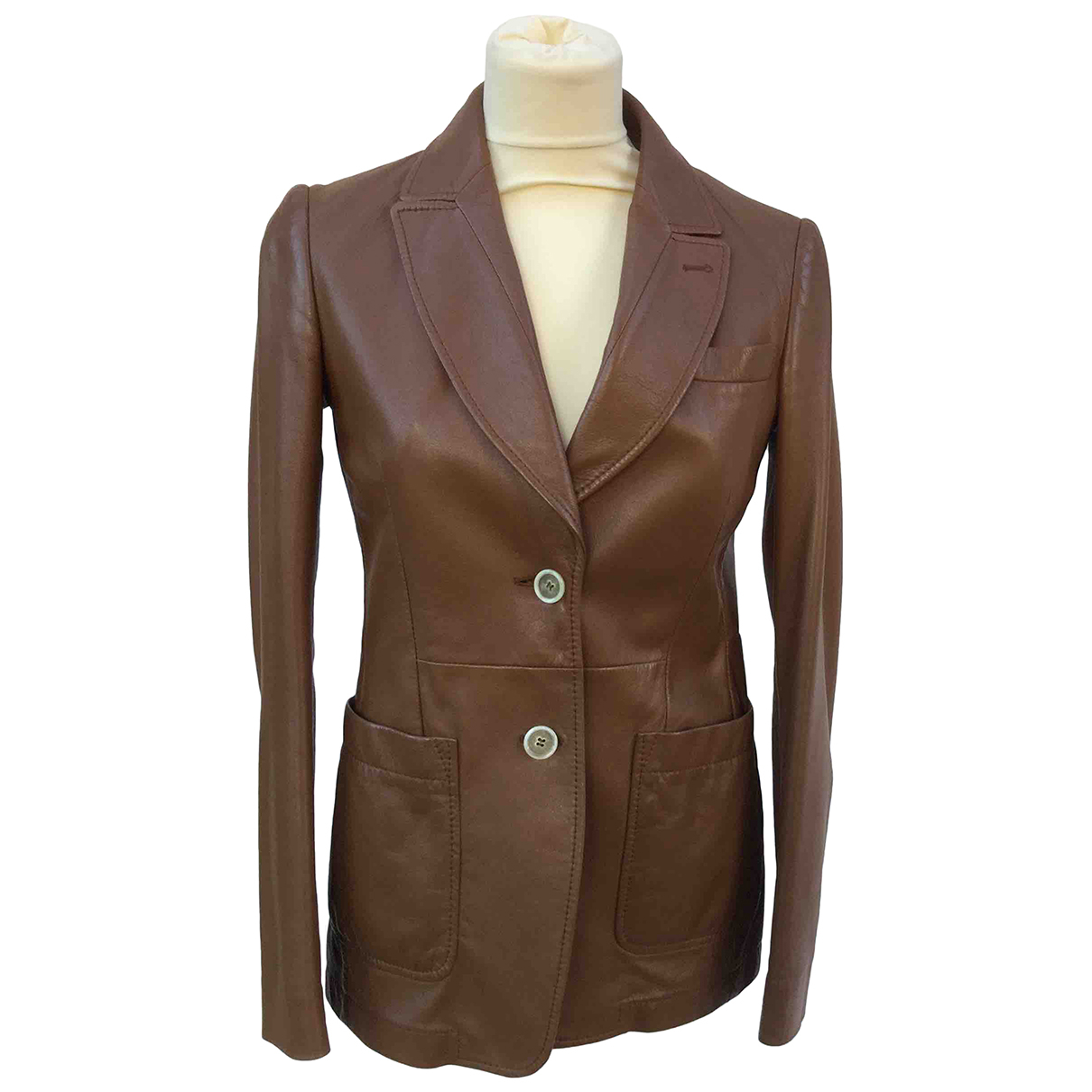 Tod's N Brown Leather jacket for Women 42 IT