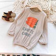 Sweatshirt Kleid mit Buchstaben & Karotte Muster