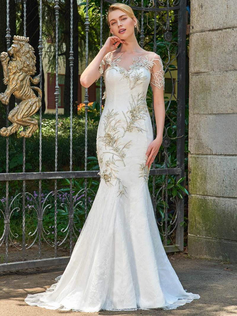 Ericdress Mermaid Lace Appliques Short Sleeves Wedding Dress