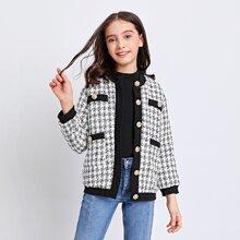 Tweed Jacke mit Knopfen