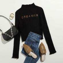 Embroidered Letter Rib-knit Sweater