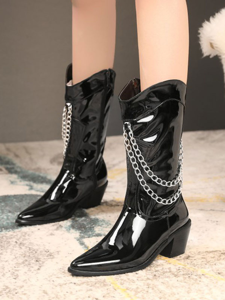 Milanoo Women Mid Calf Boots Black Pointed Toe PU Leather Chain Detail Zip Up Wide Calf Boots