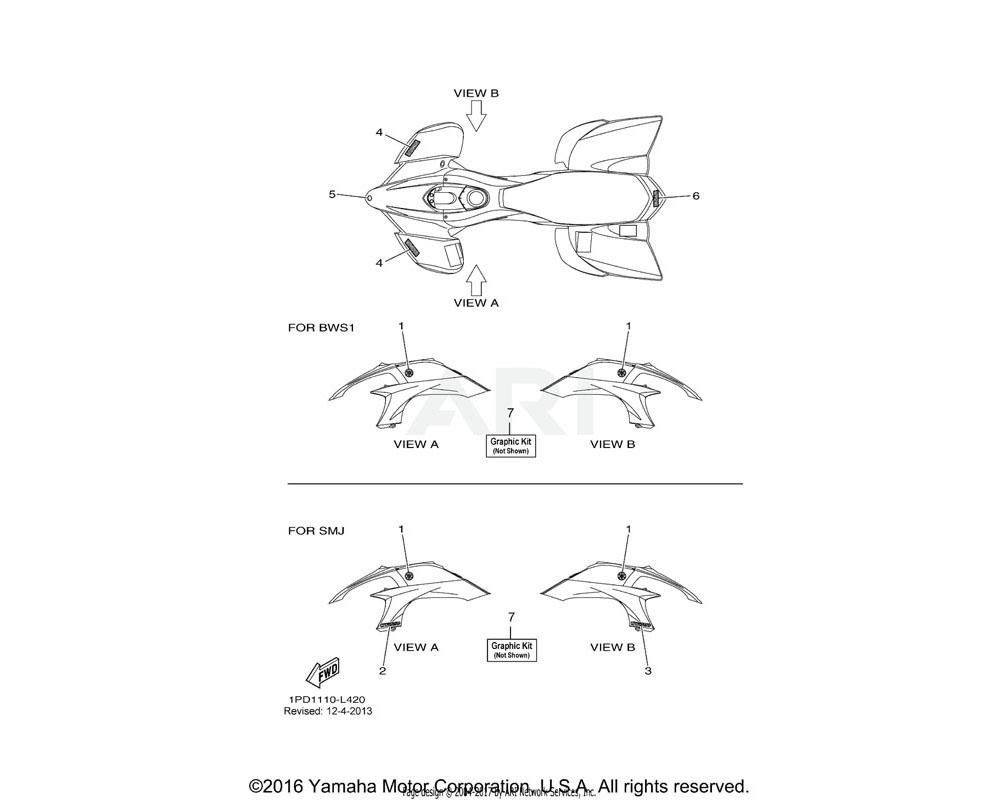 Yamaha OEM 4ES-2153E-10-00 EMBLEM, YAMAHA | UR FOR SMJ