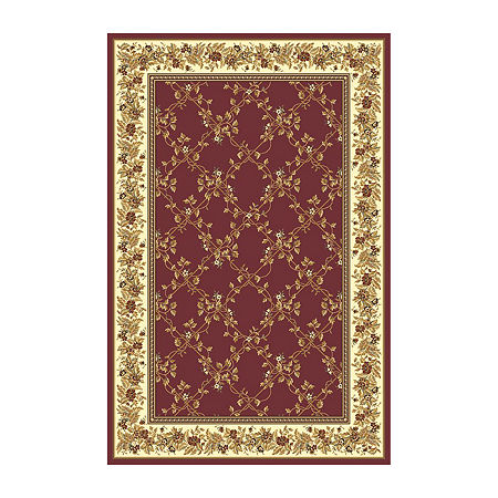 Noble Scroll Traditional Oriental Area Rug, One Size , Red