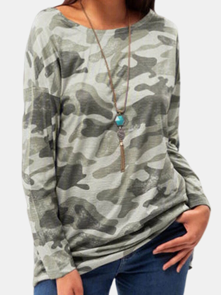 Camouflage Printed Long Sleeve O-enck T-shirt For Women