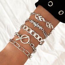 5pcs Star & Flame Design Chain Bracelet