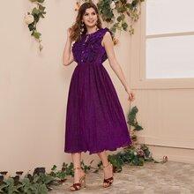 Kleid mit transparenter Rueckseite, mehrschichtiger Raffung Detail, Falten und Glitzer