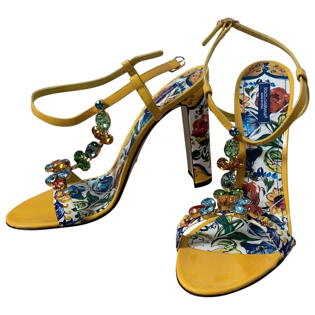 Dolce & Gabbana \N Yellow Patent leather Sandals for Women 41 EU