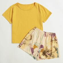 Girls Solid Tee With Large Floral Shorts PJ Set