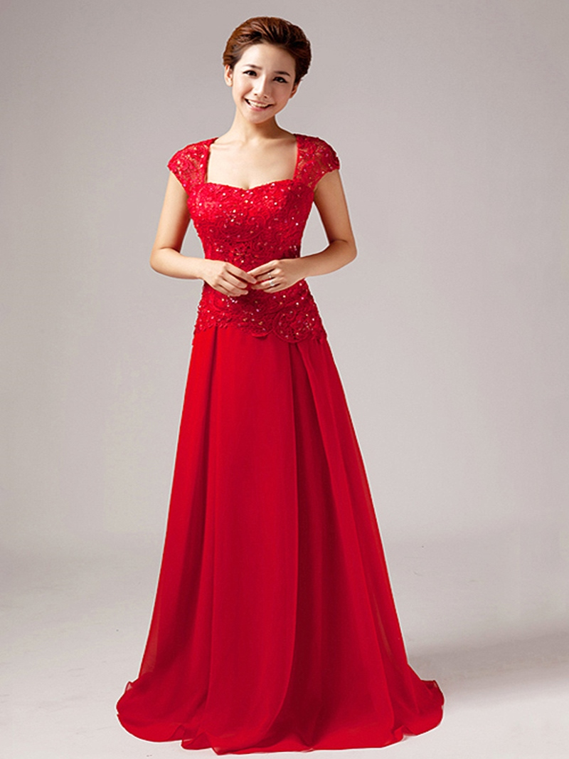 Elegant Short Sleeves A-Line Lace Floor Length Prom Dress