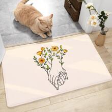 Flower & Finger Print Door Mat
