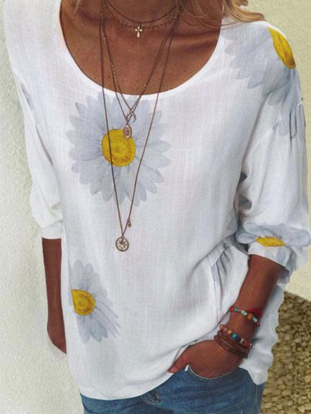 Milanoo Camiseta de manga corta de algodon con estampado floral y cuello joya para mujer