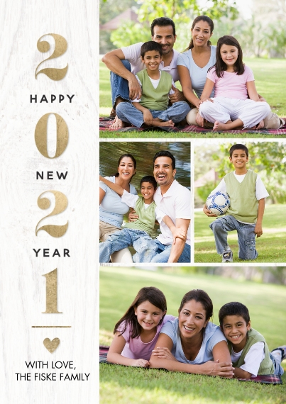 New Years Photo Cards 5x7 Cards, Premium Cardstock 120lb with Scalloped Corners, Card & Stationery -2021 New Year Heart by Tumbalina