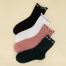 4 Paare Socken mit Kunstperlen Dekor