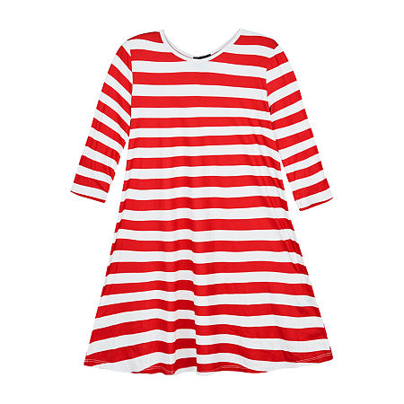 by&by Big Girls Long and Fitted Sleeve Striped A-Line Dress, Medium (10-12) , Red