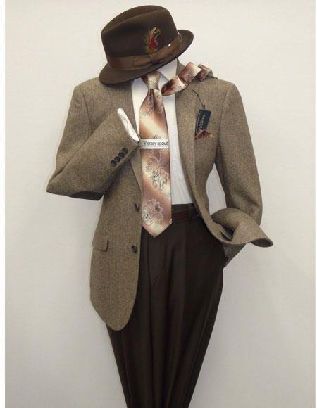 Mens US Polo Assn Salt and Pepper Wool Blend Brown/Beige Sportcoat